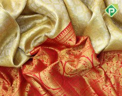 Gold With Blood Red Kanchi Tissue Sarees