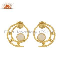 Round Spiral Design Gold Plated Silver Ethiopian Opal Earrings