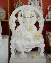 Seated Ganesha Marble Statue