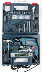 Bosch GSB 500W 10 RE Professional Tool Kit, MS and Plastic, Warranty: 6 months