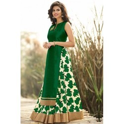 Green Georgette Ladies Printed Cotton Gown, Size: S
