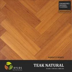 Teak Natural Engineered Herringbone Wooden Flooring