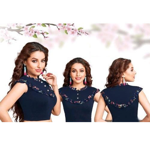 Stand Collar Blouse Designs : Navy blue ladies stand collar readymade blouse id