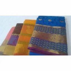 Party Wear Kanchipuram Pattu Silk Saree, Packaging Type: Packet, 5.5 m (separate blouse piece)