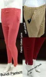 Plain Slub Cotton Potli Pencil Pants