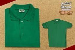 Green Cotton Matte Polo T-Shirt