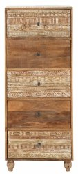 Brown Carved Solid Mango Wood Chest, Size/Dimension: 50Wx40Dx120H