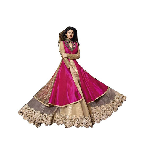 4a5902f9dd Tapeta silk Bridal Wear Pink Bangalori Silk Anarkali Gown Semi-stitched Suit