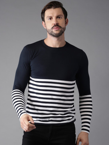 902ddebc4d1 Rigo Navy And White Striped Smart Slim Fit T Shirt. Get Best Quote. Men Jean