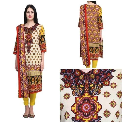 34576e2e1b Casual Uptown Galeria Multi-Coloured 100% Cotton Lawn Suit, Packaging Type:  Box