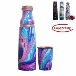 Digital Meeena Printing Pure Copper Glass Water Bottle