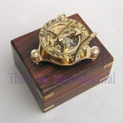 Nautical brass Sundial Compass with wooden box