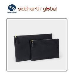 Black siddharth Leather Zippered Pouch Bag, Pure Leather: Yes