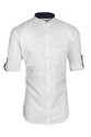 White Chinese Collar Shirt