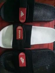 Black,White and Red Rubber Branded PVC Flip Flops, Size: 6-10 Gents