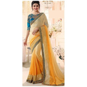 Light Yellow Plain Yellow Embroidered Party Wear Georgette Saree, 6 M (with Blouse Piece), Packaging Type: Plastic Bag