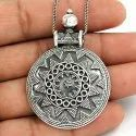 Oxidized Flower Style 925 Sterling Silver Pendant