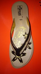 Faux Leather Daily Wear Ladies Slipper Floral Pattern, Size: 5 to 9