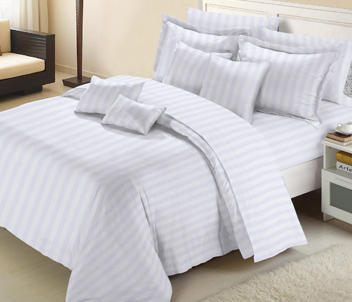 White Hotel Satin Stripe Bed Sheets 2cm Double