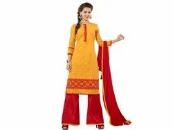 Yellow and Red Coloured Unstitched Dress Material