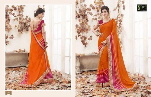 858c5b3574f283 Kessi Jhanvi Marble Georgette With Jari Smock Orange And Pin ...
