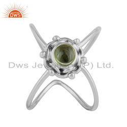 Black Oxidized 925 Silver Peridot Gemstone Stackable Ring Jewelry Supplier