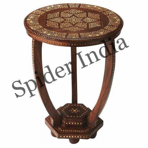 Vintage Teak Side Table.Vintage Teak Bone Inlay Side Table