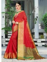 Traditional Cotton Silk Weaving Saree, 6.3 mtr