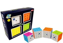 Stickerless Magic Puzzle Cubes Combo (2x2 3X3 4x4 & 5x5 ) - 4 In 1