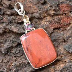 High Quality Solid 925 Sterling Silver Red Jasper Gemstone Handmade Fine Pendant  Jewelry