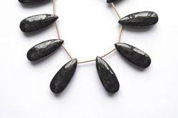 Natural Black Jasper Pear Semi Precious Stone