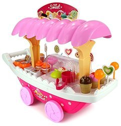 Luxury Ice Cream Sweet Candy Cart Playset Toy with Lights and Music, Candy Muffin Cake Shopping Cart