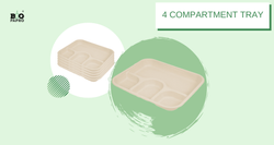 4 Compartment Disposable Bagasse Tray