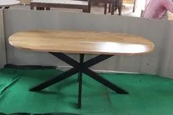 Natural Matrix Leg Industrial Capsule Dining Table, Size: W72xd36xh30 Inch