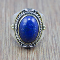 925 Sterling Silver And Brass Designer Jewelry Lapis Lazuli Gemstone Ring Wr-5844
