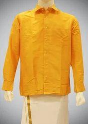 ef93221baeaabe Dark Yellow Plain Yellow Cotton Silk Shirt