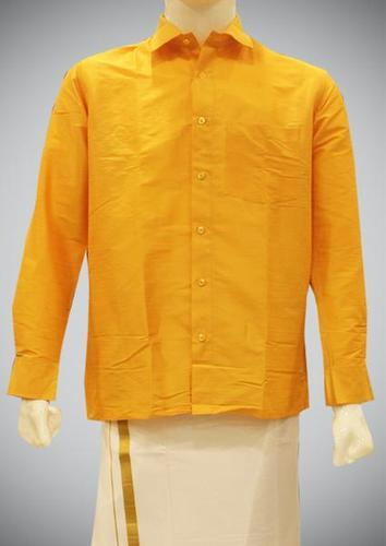 50623ccb7da9c Dark Yellow Plain Yellow Cotton Silk Shirt