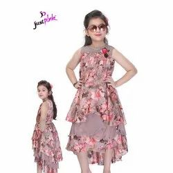 Georgette Printed Kids Party Wear Frock