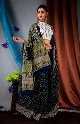 Hand Printed Ajrakh Mulmul Ladies Saree