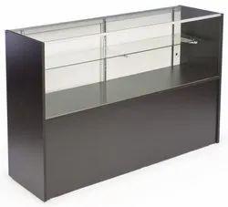 长方形玻璃和铝移动商店展示柜台
