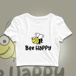Crop Top White Bee Happy Printed T-Shirt