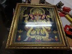 Gold Rectangular Ganesha Fiber Photo Frames
