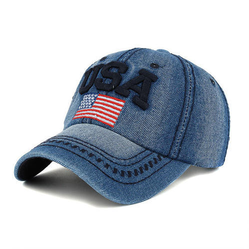 9593b47e6cb Novasox Navy Blue and Pink & Red USA Slogan Old Glory Embroidered Jeans  Denim Baseball Cap