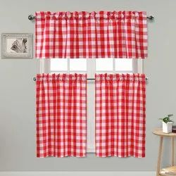 Cotton Gingham Checked Tier And Valance Kitchen Curtain Set