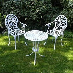 Powder Coated Cast Aluminium Table And Chair, For Outdoor