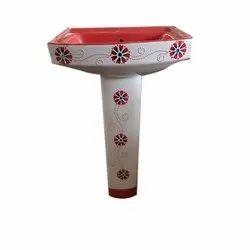 Ceramic Printed Pedestal Wash Basin, Height: 3 feet