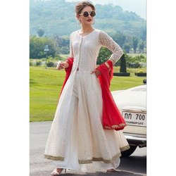 Chanderi Anarkali Ladies White Punjabi Suit, Handwash