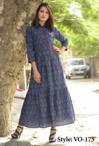 Vedika Overseas Cotton Blue Cotton Straight Long Dress 2318af5ad
