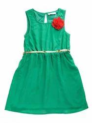 Chiffon Round Neck Sleeve Less Green Dress