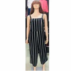 Contrast Vertical Stripe Sleeveless Jump Suit